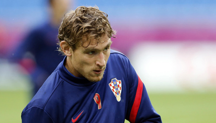 Croatia's Nikica Jelavic attends the official training of Croatia on the eve of the Euro 2012 soccer championship Group C match between Italy and Croatia in Poznan, Poland, Wednesday, June 13, 2012. (AP Photo/Darko Bandic)