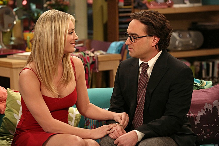 """The Tangible Affection Proof"" –  While the guys try to give their significant others the perfect Valentine's Day, Raj and Stuart throw a ""lonely people"" party at the comic book store, on THE BIG BANG THEORY, Thursday, Feb. 14 (8:00 – 8:31 PM, ET/PT) on the CBS Television Network. Left: Penny (Kaley Cuoco), Right: Leonard (Johnny Galecki). Photo: Michael Yarish/Warner Bros. ©2013 Warner Bros. Television. All Rights Reserved."